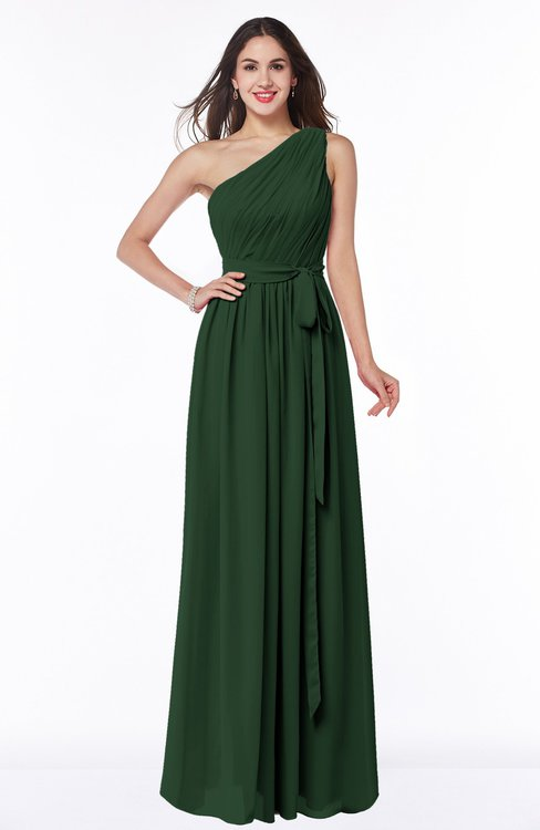 ColsBM Fiona Hunter Green Classic A-line Asymmetric Neckline Chiffon Floor Length Sash Plus Size Bridesmaid Dresses