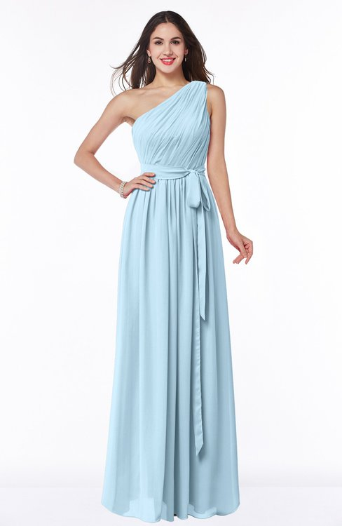 ColsBM Fiona Ice Blue Classic A-line Asymmetric Neckline Chiffon Floor Length Sash Plus Size Bridesmaid Dresses
