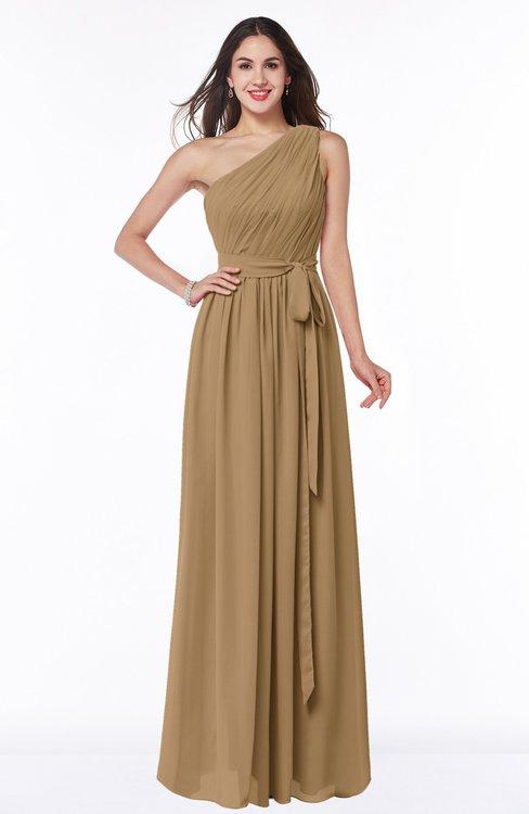 ColsBM Fiona Indian Tan Classic A-line Asymmetric Neckline Chiffon Floor Length Sash Plus Size Bridesmaid Dresses