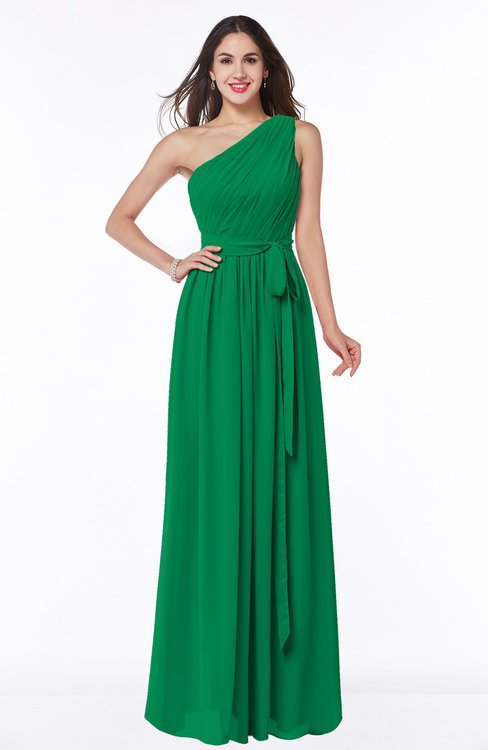 ColsBM Fiona Jelly Bean Classic A-line Asymmetric Neckline Chiffon Floor Length Sash Plus Size Bridesmaid Dresses