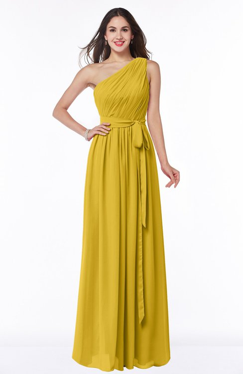 ColsBM Fiona Lemon Curry Classic A-line Asymmetric Neckline Chiffon Floor Length Sash Plus Size Bridesmaid Dresses