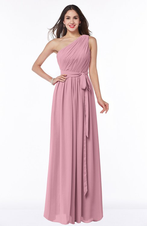 ColsBM Fiona Light Coral Classic A-line Asymmetric Neckline Chiffon Floor Length Sash Plus Size Bridesmaid Dresses