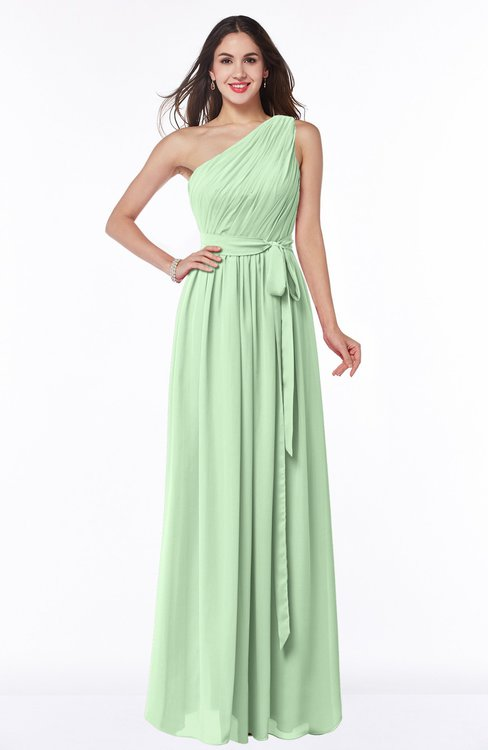 ColsBM Fiona Light Green Classic A-line Asymmetric Neckline Chiffon Floor Length Sash Plus Size Bridesmaid Dresses