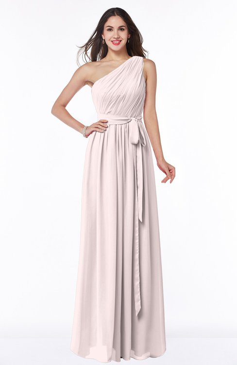 ColsBM Fiona Light Pink Classic A-line Asymmetric Neckline Chiffon Floor Length Sash Plus Size Bridesmaid Dresses