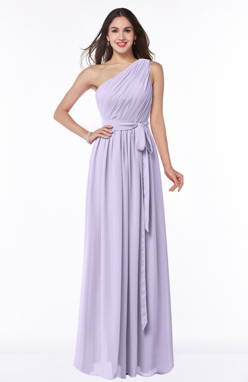 ColsBM Fiona Light Purple Classic A-line Asymmetric Neckline Chiffon Floor Length Sash Plus Size Bridesmaid Dresses