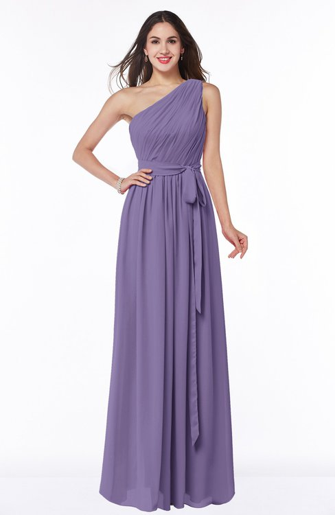 ColsBM Fiona Lilac Classic A-line Asymmetric Neckline Chiffon Floor Length Sash Plus Size Bridesmaid Dresses