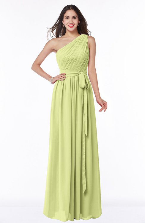 ColsBM Fiona Lime Green Classic A-line Asymmetric Neckline Chiffon Floor Length Sash Plus Size Bridesmaid Dresses