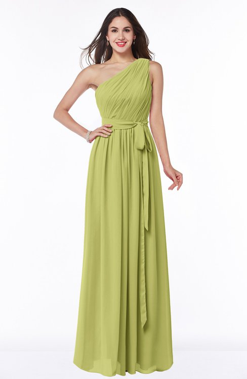 ColsBM Fiona Linden Green Classic A-line Asymmetric Neckline Chiffon Floor Length Sash Plus Size Bridesmaid Dresses