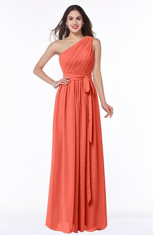 ColsBM Fiona Living Coral Classic A-line Asymmetric Neckline Chiffon Floor Length Sash Plus Size Bridesmaid Dresses