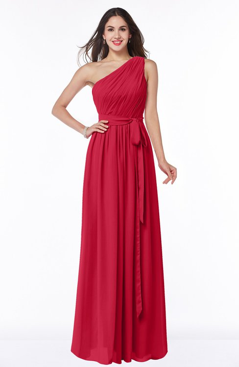 ColsBM Fiona Lollipop Classic A-line Asymmetric Neckline Chiffon Floor Length Sash Plus Size Bridesmaid Dresses