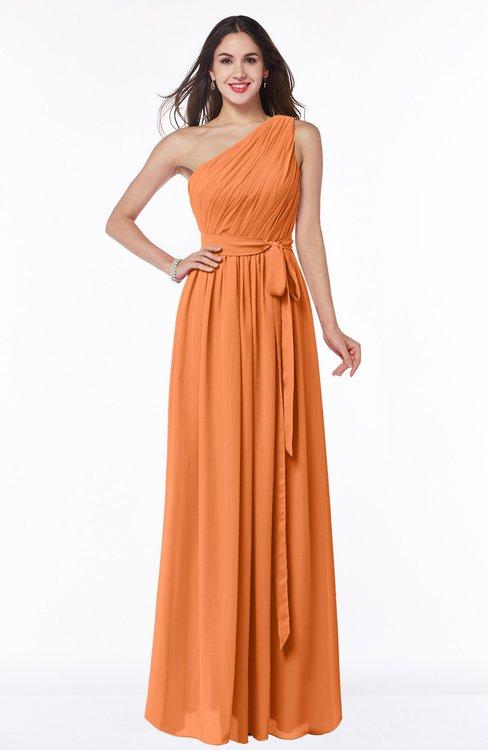 ColsBM Fiona Mango Classic A-line Asymmetric Neckline Chiffon Floor Length Sash Plus Size Bridesmaid Dresses