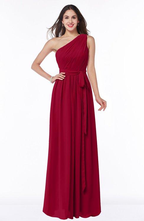 ColsBM Fiona Maroon Classic A-line Asymmetric Neckline Chiffon Floor Length Sash Plus Size Bridesmaid Dresses