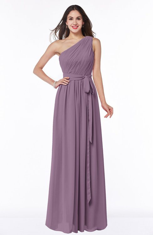 ColsBM Fiona Mauve Classic A-line Asymmetric Neckline Chiffon Floor Length Sash Plus Size Bridesmaid Dresses