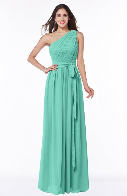 ColsBM Fiona Mint Green Classic A-line Asymmetric Neckline Chiffon Floor Length Sash Plus Size Bridesmaid Dresses