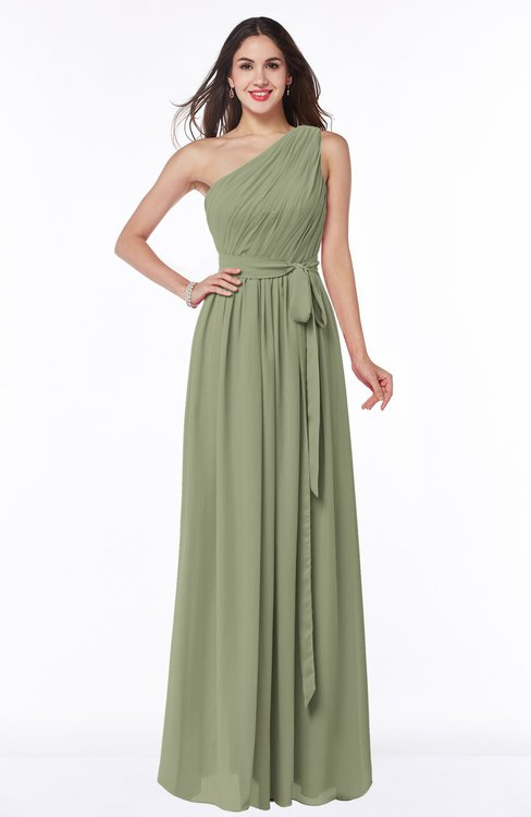 ColsBM Fiona Moss Green Classic A-line Asymmetric Neckline Chiffon Floor Length Sash Plus Size Bridesmaid Dresses