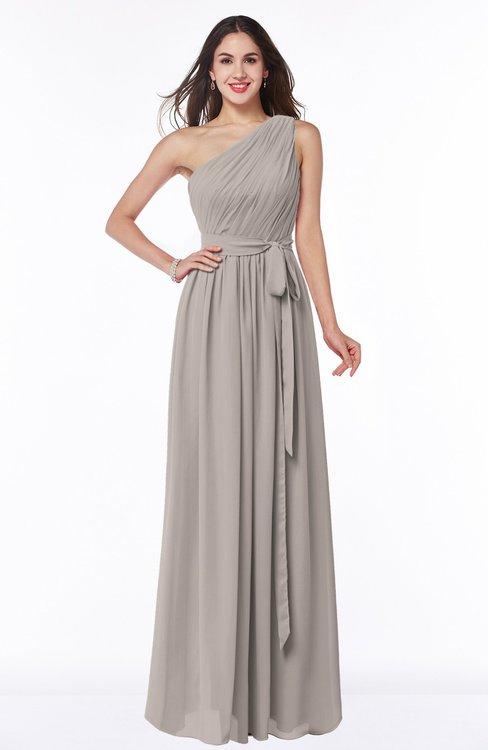 ColsBM Fiona Mushroom Classic A-line Asymmetric Neckline Chiffon Floor Length Sash Plus Size Bridesmaid Dresses
