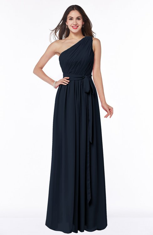 ColsBM Fiona Navy Blue Classic A-line Asymmetric Neckline Chiffon Floor Length Sash Plus Size Bridesmaid Dresses
