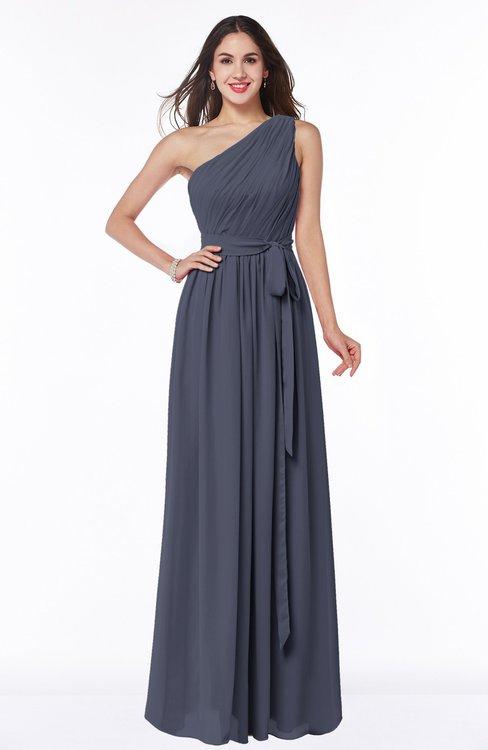 ColsBM Fiona Nightshadow Blue Classic A-line Asymmetric Neckline Chiffon Floor Length Sash Plus Size Bridesmaid Dresses