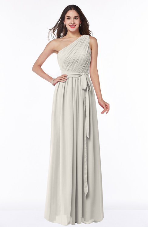 ColsBM Fiona Off White Classic A-line Asymmetric Neckline Chiffon Floor Length Sash Plus Size Bridesmaid Dresses