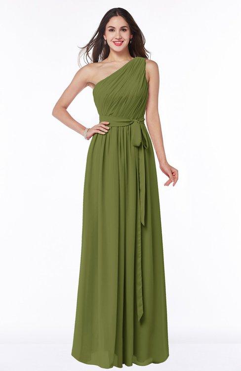 ColsBM Fiona Olive Green Classic A-line Asymmetric Neckline Chiffon Floor Length Sash Plus Size Bridesmaid Dresses