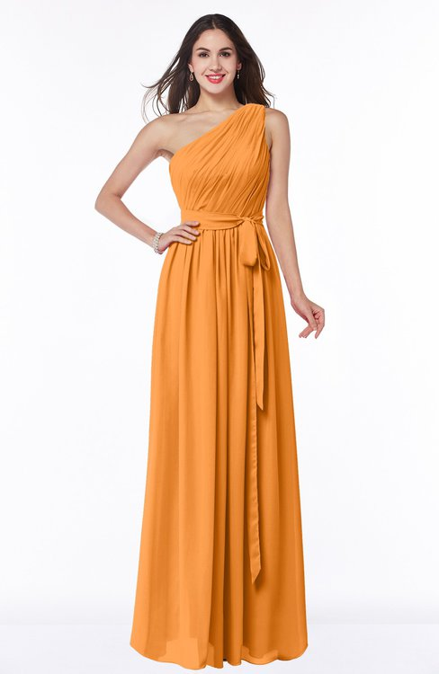 ColsBM Fiona Orange Classic A-line Asymmetric Neckline Chiffon Floor Length Sash Plus Size Bridesmaid Dresses