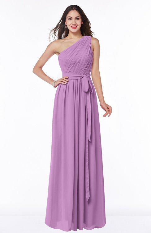 ColsBM Fiona Orchid Classic A-line Asymmetric Neckline Chiffon Floor Length Sash Plus Size Bridesmaid Dresses