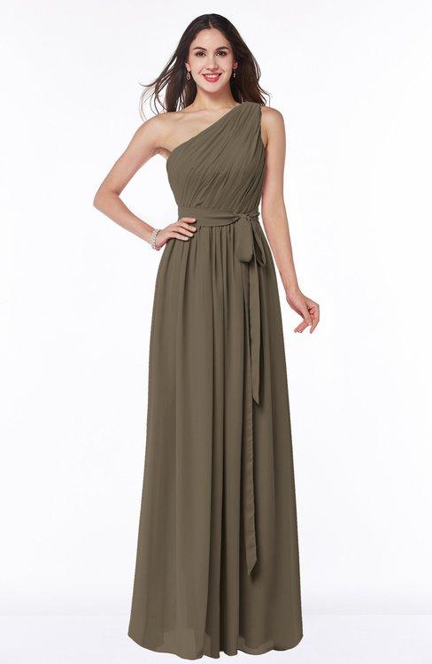 ColsBM Fiona Otter Classic A-line Asymmetric Neckline Chiffon Floor Length Sash Plus Size Bridesmaid Dresses