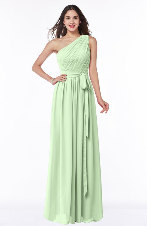 ColsBM Fiona Pale Green Classic A-line Asymmetric Neckline Chiffon Floor Length Sash Plus Size Bridesmaid Dresses