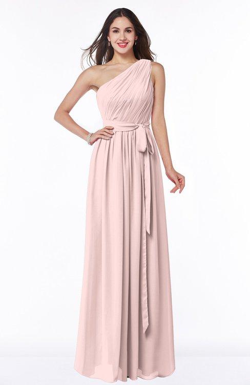 ColsBM Fiona Pastel Pink Classic A-line Asymmetric Neckline Chiffon Floor Length Sash Plus Size Bridesmaid Dresses