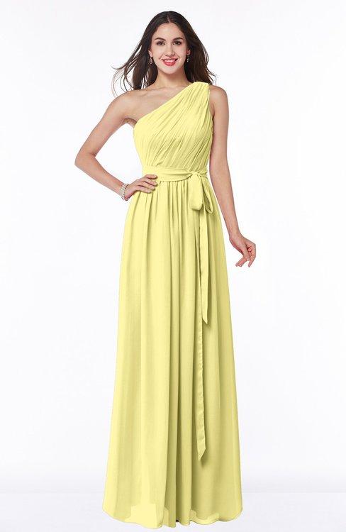 ColsBM Fiona Pastel Yellow Classic A-line Asymmetric Neckline Chiffon Floor Length Sash Plus Size Bridesmaid Dresses