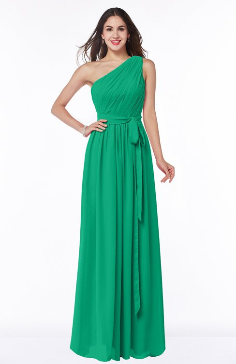 ColsBM Fiona Pepper Green Classic A-line Asymmetric Neckline Chiffon Floor Length Sash Plus Size Bridesmaid Dresses