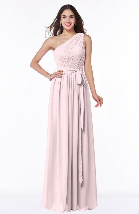 ColsBM Fiona Petal Pink Classic A-line Asymmetric Neckline Chiffon Floor Length Sash Plus Size Bridesmaid Dresses