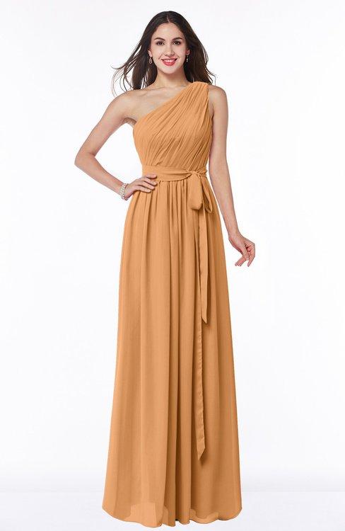 ColsBM Fiona Pheasant Classic A-line Asymmetric Neckline Chiffon Floor Length Sash Plus Size Bridesmaid Dresses