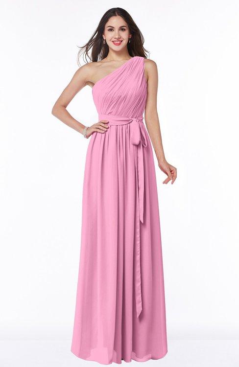 ColsBM Fiona Pink Classic A-line Asymmetric Neckline Chiffon Floor Length Sash Plus Size Bridesmaid Dresses