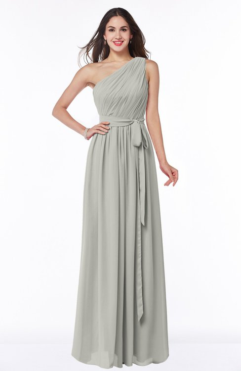 ColsBM Fiona Platinum Classic A-line Asymmetric Neckline Chiffon Floor Length Sash Plus Size Bridesmaid Dresses
