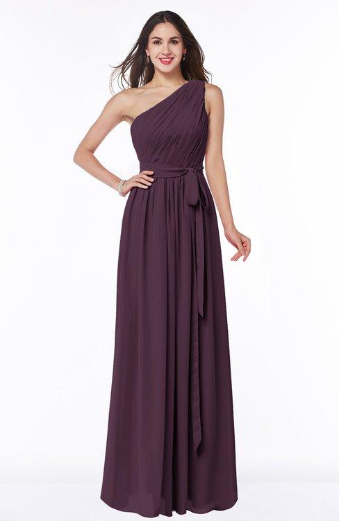 ColsBM Fiona Plum Classic A-line Asymmetric Neckline Chiffon Floor Length Sash Plus Size Bridesmaid Dresses