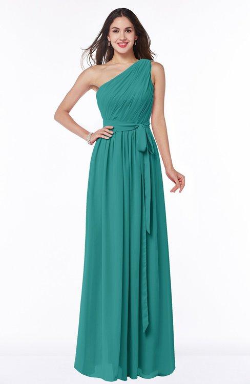 ColsBM Fiona Porcelain Classic A-line Asymmetric Neckline Chiffon Floor Length Sash Plus Size Bridesmaid Dresses