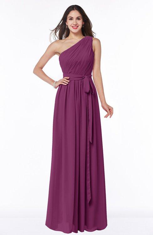 ColsBM Fiona Raspberry Classic A-line Asymmetric Neckline Chiffon Floor Length Sash Plus Size Bridesmaid Dresses