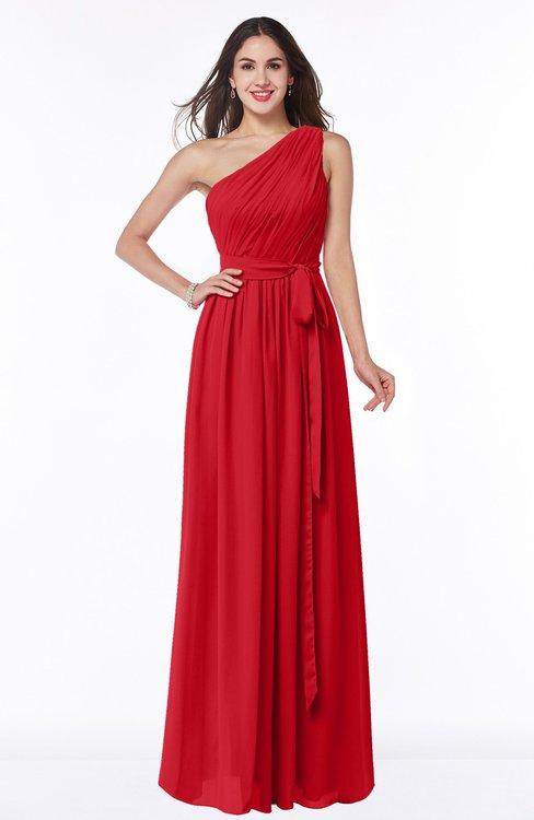 ColsBM Fiona Red Classic A-line Asymmetric Neckline Chiffon Floor Length Sash Plus Size Bridesmaid Dresses