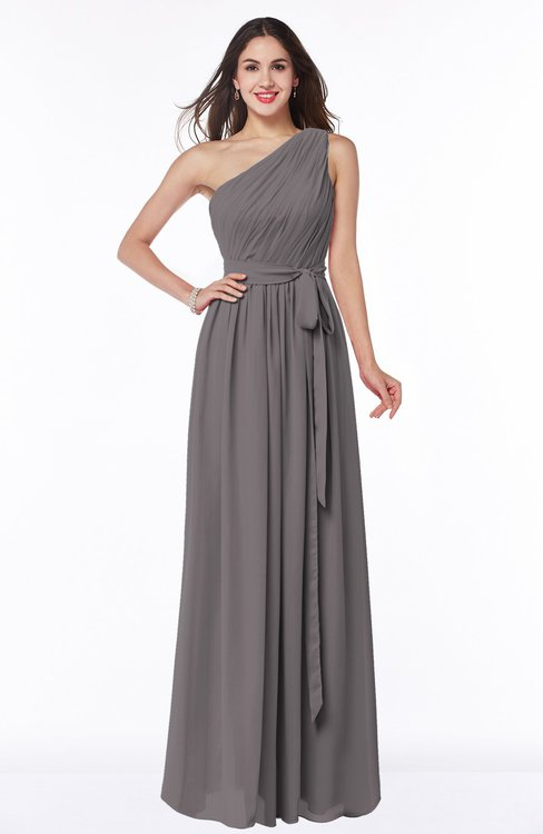 ColsBM Fiona Ridge Grey Classic A-line Asymmetric Neckline Chiffon Floor Length Sash Plus Size Bridesmaid Dresses