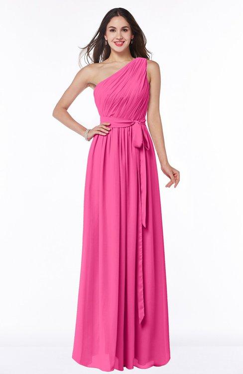 ColsBM Fiona Rose Pink Classic A-line Asymmetric Neckline Chiffon Floor Length Sash Plus Size Bridesmaid Dresses