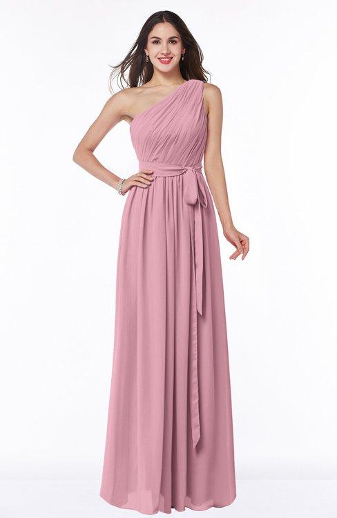 ColsBM Fiona Rosebloom Classic A-line Asymmetric Neckline Chiffon Floor Length Sash Plus Size Bridesmaid Dresses