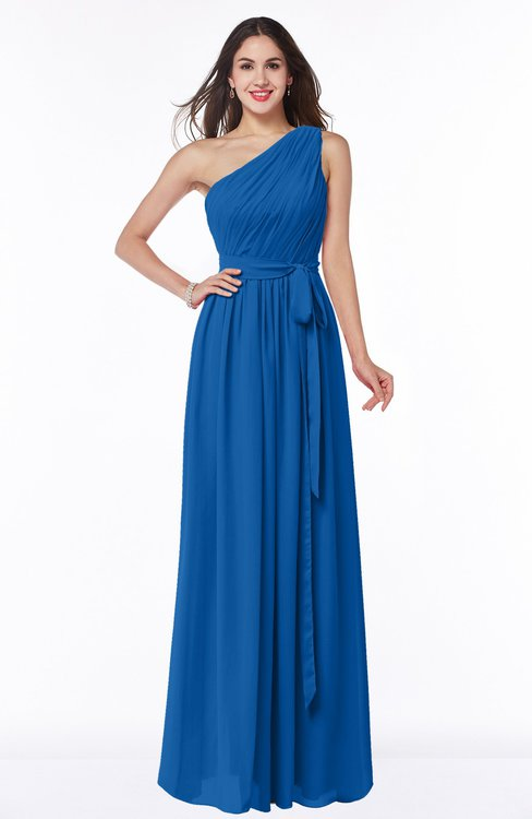 ColsBM Fiona Royal Blue Classic A-line Asymmetric Neckline Chiffon Floor Length Sash Plus Size Bridesmaid Dresses