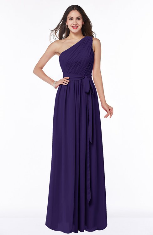 ColsBM Fiona Royal Purple Classic A-line Asymmetric Neckline Chiffon Floor Length Sash Plus Size Bridesmaid Dresses