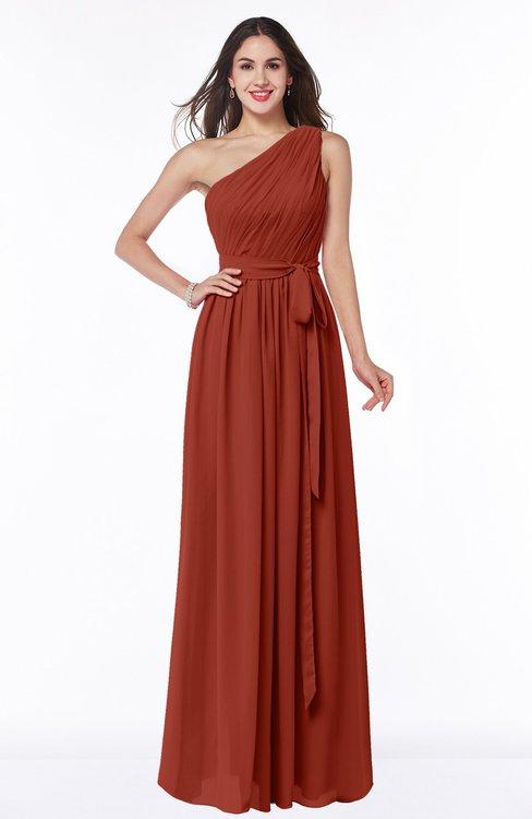 ColsBM Fiona Rust Classic A-line Asymmetric Neckline Chiffon Floor Length Sash Plus Size Bridesmaid Dresses