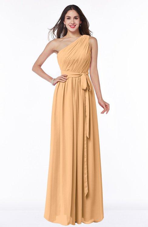 ColsBM Fiona Salmon Buff Classic A-line Asymmetric Neckline Chiffon Floor Length Sash Plus Size Bridesmaid Dresses