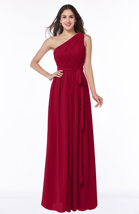 ColsBM Fiona Scooter Classic A-line Asymmetric Neckline Chiffon Floor Length Sash Plus Size Bridesmaid Dresses