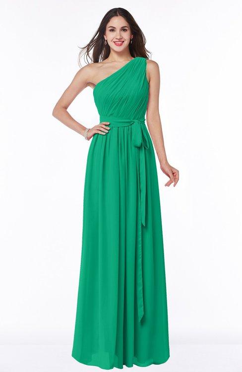 ColsBM Fiona Sea Green Classic A-line Asymmetric Neckline Chiffon Floor Length Sash Plus Size Bridesmaid Dresses