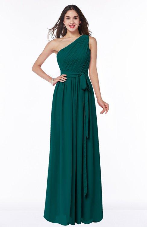 ColsBM Fiona Shaded Spruce Classic A-line Asymmetric Neckline Chiffon Floor Length Sash Plus Size Bridesmaid Dresses