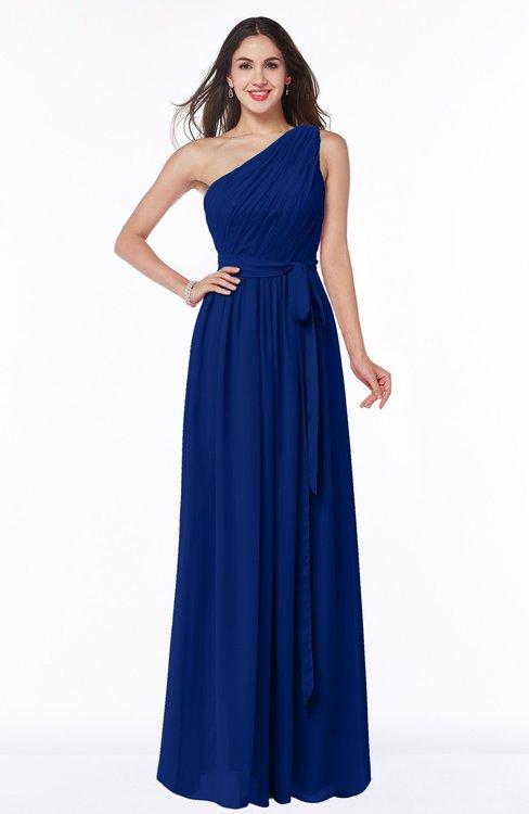 ColsBM Fiona Sodalite Blue Classic A-line Asymmetric Neckline Chiffon Floor Length Sash Plus Size Bridesmaid Dresses